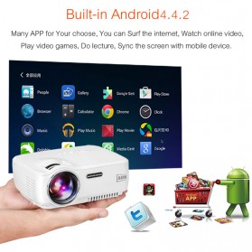 AUN Proyektor Android 800x480 Pixel 1400 Lumens - AM01S - White - 2
