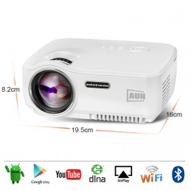 AUN Proyektor Android 800x480 Pixel 1400 Lumens - AM01S - White - 3