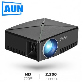 AUN C80 Proyektor Mini Smart HD 720P WiFi 2200 Lumens Android 6.0 - Black