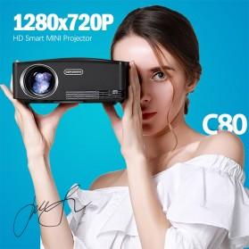 AUN C80 Proyektor Mini Smart HD 720P WiFi 2200 Lumens Android 6.0 - Black - 2