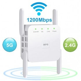 WiFi / Wireless Router / Access Point - Easyidea WiFi Repeater Extender Wireless Range Amplifier 5Ghz/2.4Ghz 1200Mbps - WR101012 - White