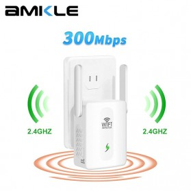 WiFi / Wireless Router / Access Point - Amkle Wireless WiFi Range Extender Amplifier Booster 300Mbps - WR102 - White