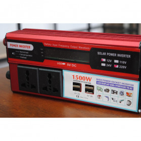 DOXIN Car Power Inverter DC 12V to AC 220V 1500W with 4 USB Port - MH1500 - Red - 4