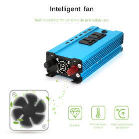ALLOMIN Car Power Inverter DC 12V to AC 220V 1200Watt 4 USB Port - AKZ907 - Blue - 4