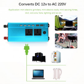 ALLOMIN Car Power Inverter DC 12V to AC 220V 1200Watt 4 USB Port - AKZ907 - Blue - 6