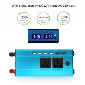 ALLOMIN Car Power Inverter DC 12V to AC 220V 1200Watt 4 USB Port - AKZ907 - Blue - 9