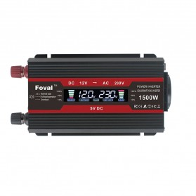 Foval Car Power Inverter DC 12V to AC 220V 1500W with 2 USB Port - F01500 - Black