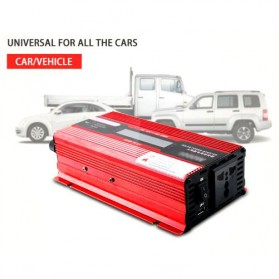 Carmaer Car Power Inverter DC 12V to AC 220V 1000W with LED Display - SDB-1000A - Red