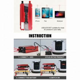 Carmaer Car Power Inverter DC 12V to AC 220V 1000W with LED Display - SDB-1000A - Red - 2