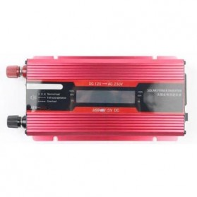 Carmaer Car Power Inverter DC 12V to AC 220V 500W with LED Display - SDB-500A - Red