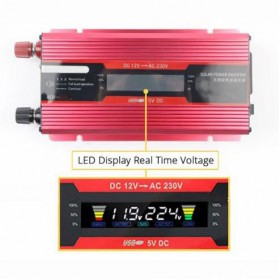 Carmaer Car Power Inverter DC 12V to AC 220V 500W with LED Display - SDB-500A - Red - 2