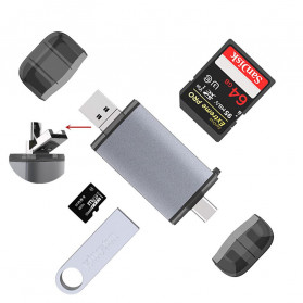 BEESCLOVER Multifunction 6 in 1 OTG Card Reader Adapter USB Type C + Micro USB - T-933A - Gray