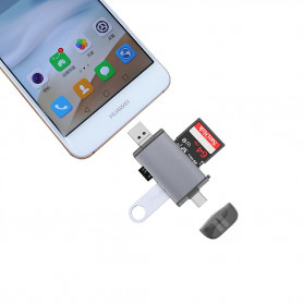 BEESCLOVER Multifunction 6 in 1 OTG Card Reader Adapter USB Type C + Micro USB - T-933A - Gray - 4