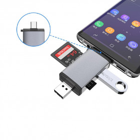 BEESCLOVER Multifunction 6 in 1 OTG Card Reader Adapter USB Type C + Micro USB - T-933A - Gray - 6
