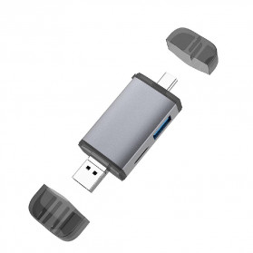 BEESCLOVER Multifunction 6 in 1 OTG Card Reader Adapter USB Type C + Micro USB - T-933A - Gray - 9