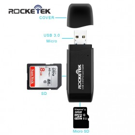 Rocketek Card Reader OTG Micro USB & USB 3.0 Micro SD / SD Card 5Gbps - RT-CR9 - Black - 2