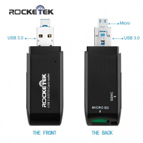 Rocketek Card Reader OTG Micro USB & USB 3.0 Micro SD / SD Card 5Gbps - RT-CR9 - Black - 4