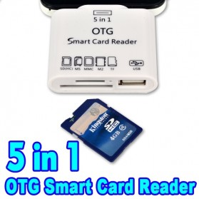 5 in 1 Micro USB Card Reader for Android Smartphones & Tablets - White - 5