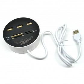 Combo Circle Multi Card Reader + 3 USB HUB 2.0 - Black - 1