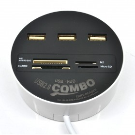 Combo Circle Multi Card Reader + 3 USB HUB 2.0 - Black - 2