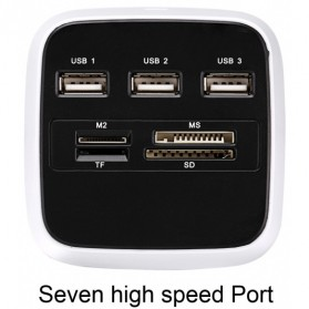 Desktop Multi Card Reader + 3 USB HUB 2.0 Splitter - Black White - 7