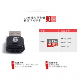 Kawau Mini USB Card Reader for Micro SD - C286 - Black - 6