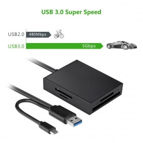 UGreen Card Reader Multifungsi USB 3.0 Dengan Micro USB OTG - Black - 4