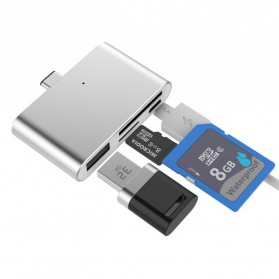 High Speed Multi Card Reader USB Type C 3.1 - Silver
