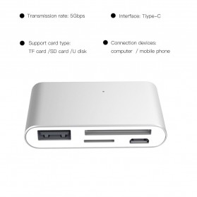 High Speed Multi Card Reader USB Type C 3.1 - Silver - 2
