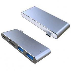 Multi Card Reader USB Type C 3.1 with Charging Port - Silver - 2