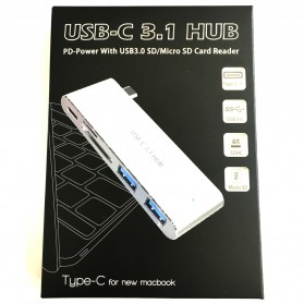 Multi Card Reader USB Type C 3.1 with Charging Port - Silver - 4