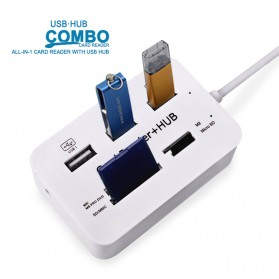 KEBIDU USB Hub Combo Card Reader 3 USB 2.0/SD/TF/M2/MSDuo Port - HY-619 - White