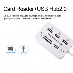 KEBIDU USB Hub Combo Card Reader 3 USB 2.0/SD/TF/M2/MSDuo Port - HY-619 - White - 5