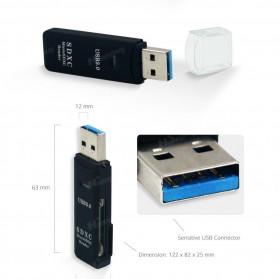 Multifunction USB 3.0 MicroSD + SD Card Reader - Black - 2