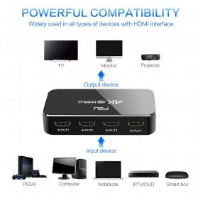 FSU HDMI Switcher 4 Port HDMI 2.0 4K HDR with Remote - SWI41-A - Black - 3