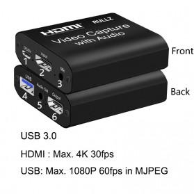 Konverter & Ekstender Video - RULLZ HDMI Video Capture Card Adapter Grabber Record Box USB 3.0 4K with Audio - RU902 - Black