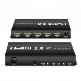 KEBIDU HDMI Switcher 4 Port HDMI 2.0 4K HDR with Remote - YUV4 - Black