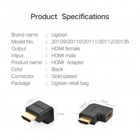 UGREEN HDMI Converter Male to Female L Shape 4K Down - HD112 - Black - 5