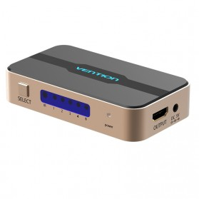 Vention HDMI Switcher 5 Port Full HD 4K with Remote Control - Golden - 3