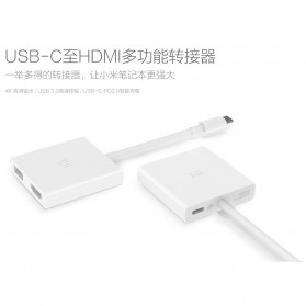 Xiaomi USB Type C to HDMI & USB Adapter Converter Cable - White - 2