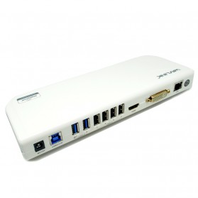 Wavlink USB 3.0 Docking Station with HDMI DVI and Ethernet - White
