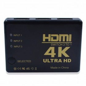 Robotsky HDMI Switcher 3 Port 4K x 2K Ultra HD + Remote - UH-501 - Black - 2