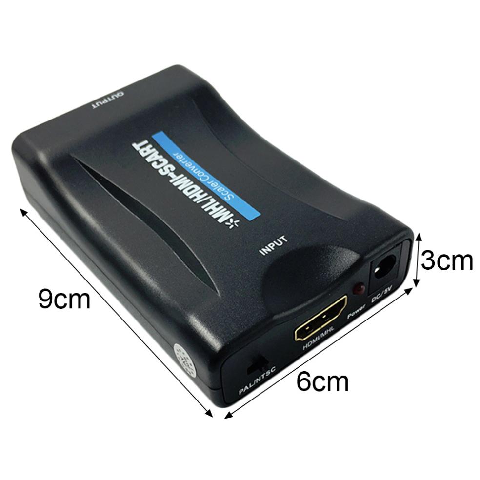 portable hdmi to scart video converter 1080p black. Black Bedroom Furniture Sets. Home Design Ideas
