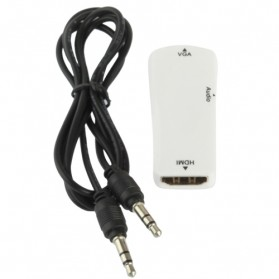 Taffware Full HD 1080P HDMI Female to VGA and Audio Adapter - E-129 - White - 6