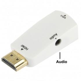 Taffware Adapter HDMI ke VGA & AUX 1080P - S-PC-0389 - White - 2