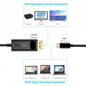 CHOETECH Kabel Adapter Converter USB Type C to DisplayPort 4K 1.2 Meter - XCP-0012 - Black - 4
