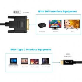 CHOETECH Kabel Adapter Converter Thunderbolt 3 USB Type C to DVI 24+1 4K 1.8 Meter - XCD-0018 - Black - 6
