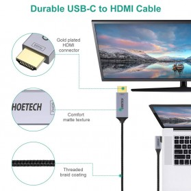 CHOETECH Kabel Adapter Konverter USB Type C to HDMI 4K L-Shape 1.8 Meter - XCH-1803 - Black - 3