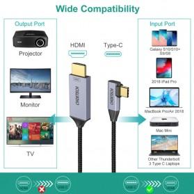 CHOETECH Kabel Adapter Konverter USB Type C to HDMI 4K L-Shape 1.8 Meter - XCH-1803 - Black - 5