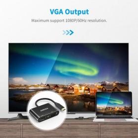 CHOETECH Kabel Video Adapter Converter USB Type C to HDMI 4K VGA 1080P - HUB-M17 - Black - 3